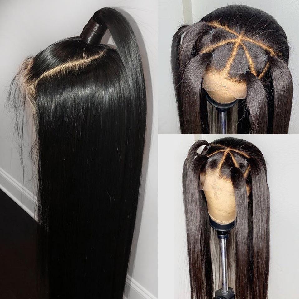 Remy Haar seidige gerade 4 * 4 Silk Base-Perücken volle Spitze-Menschenhaar-Perücken für Frauen Silk Top Spitze Perücken mit Baby-Haare-180