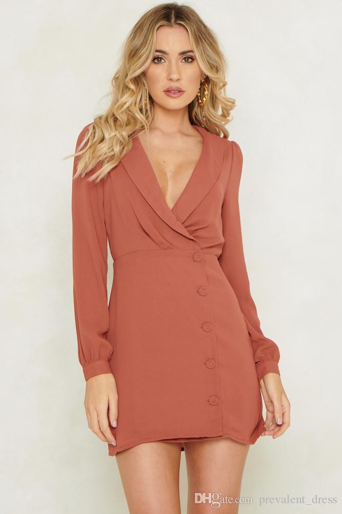 sitio de buena reputación f5f4d 512b9 Compre Vestido De Mujer Vestido Casual Para Mujer Vestido Con Cuello En V  Profundo Estilo De Moda Vestido Elegante De Las Señoras Vestido Atractivo  ...