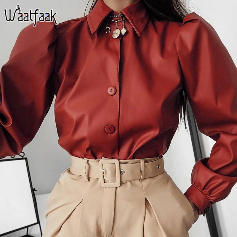 Waatfaak sólido invierno manga larga blusa de las mujeres del botón de cuero elegante casual de las señoras blusas Oficina Rojo top de la blusa de la vendimia 2019 Y200402