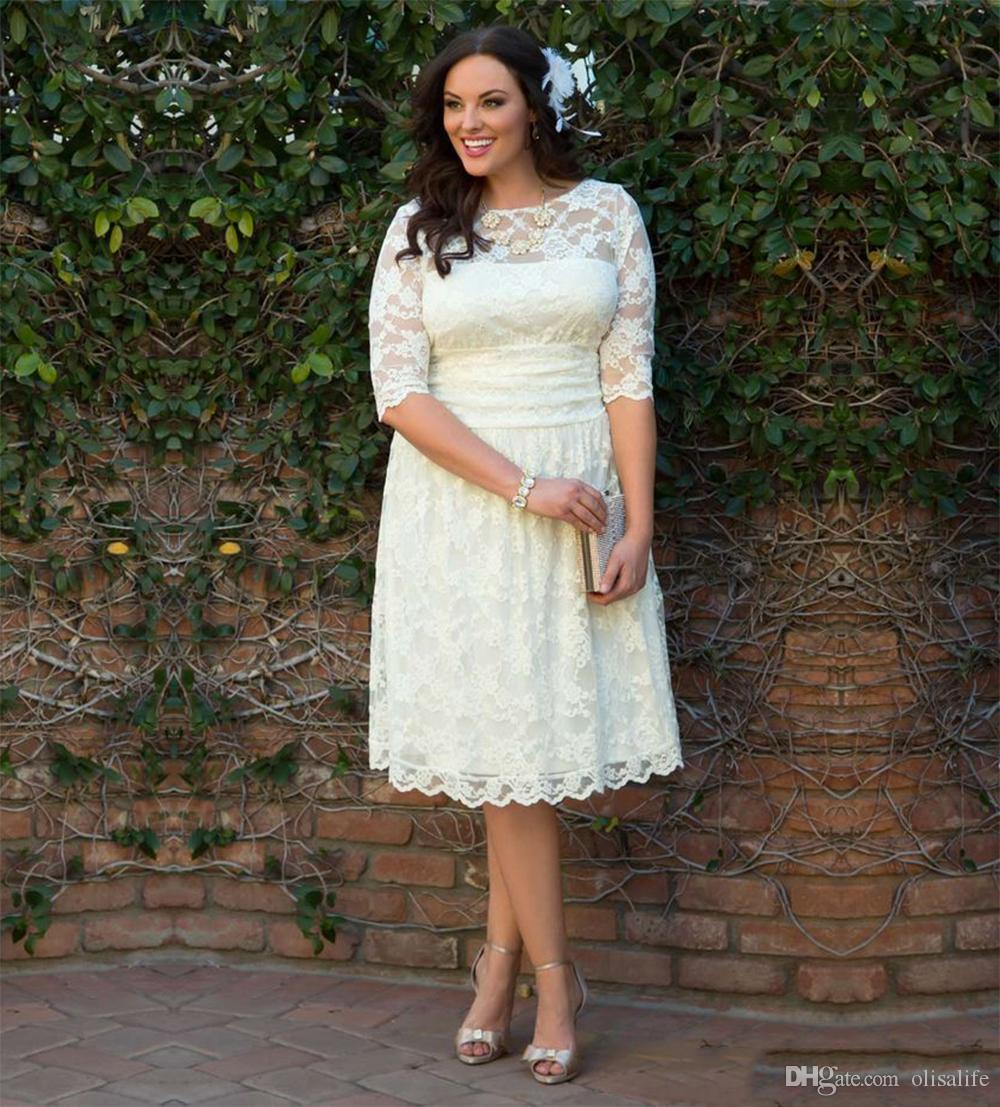 Discount Short Wedding Dresses Full Lace Plus Size Half Sleeves Tea Length  Bridal Gowns Plus Size Wedding Dress Cheap Wedding Dress Sale Wedding Dress  ...