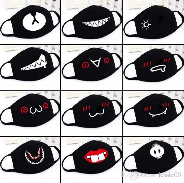 Parti Anime Sevimli Ayı Yetişkin Çocuk Eğlence Fantezi Elbise Gürdeniz Yüz Ağız Kül Yeniden kullanılabilir Toz Windproof Pamuk siyah beyaz Maske Isınma Maskesi