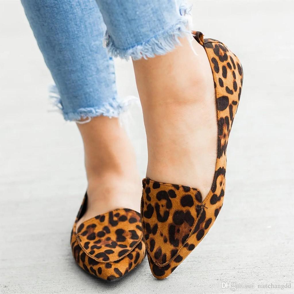 2019 Müßiggänger Leinwand Frauen Leopard Casual Slip Damen Schuhe Wohnungen Zehenschuhe Wie auf flache Mode Wohnungen Nugml
