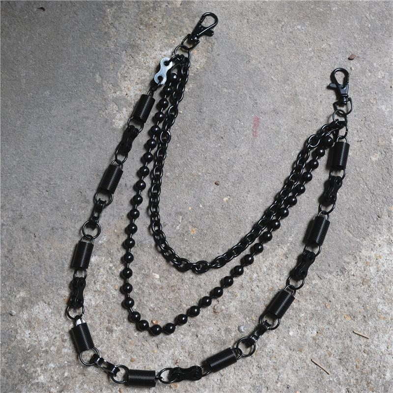 Metal 3 Layers Black Ring Rock Punk Key Chains Clip Hip Hop Jewelry Pants KeyChain Wallet Chain Waist Chains