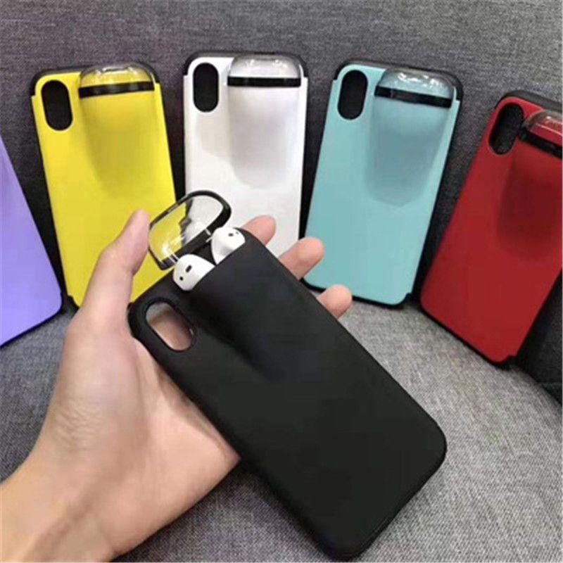 2 В 1 Чехол для телефона Наушники для хранения Box для iPhone 11 Pro MAX 7 8 Plus компании Apple AirPods Мягкая обложка силиконовый Headset Caps