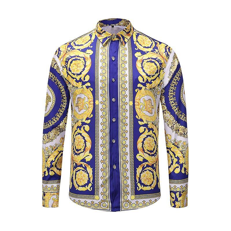Yüksek Kaliteli Erkek Gömlek İpek Pamuk Slim Fit Casual Gömlek Erkekler Uzun Kollu Medusa Gömlek Siyah Altın Çiçek Mens Elbise Gömlek yazdır