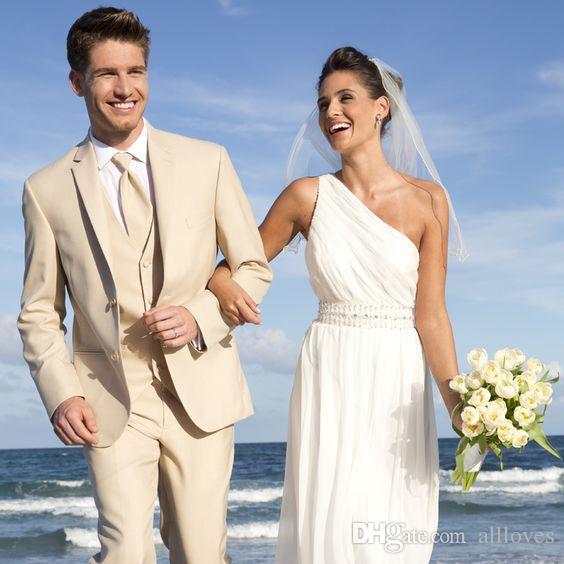Beige Slim Fit Trajes de boda para hombre Solapa con muesca Ceremonia formal Novio Esmoquin 2020 Trajes de hombre Tres piezas (Chaqueta + Chaleco + Pantalones) AL2401