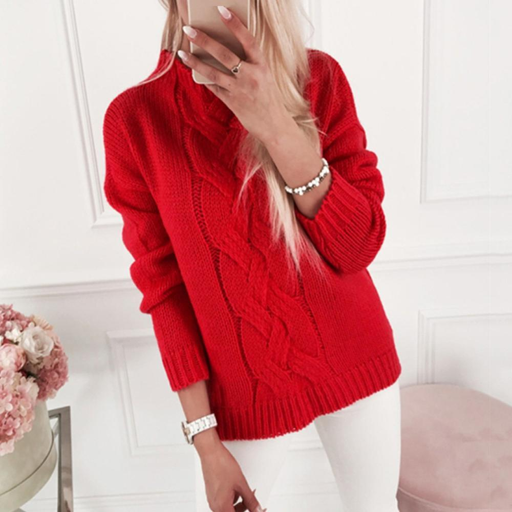 2019 femmes chandails et pulls automne hiver manches longues pull femme solide pull femme casual pull en tricot FD