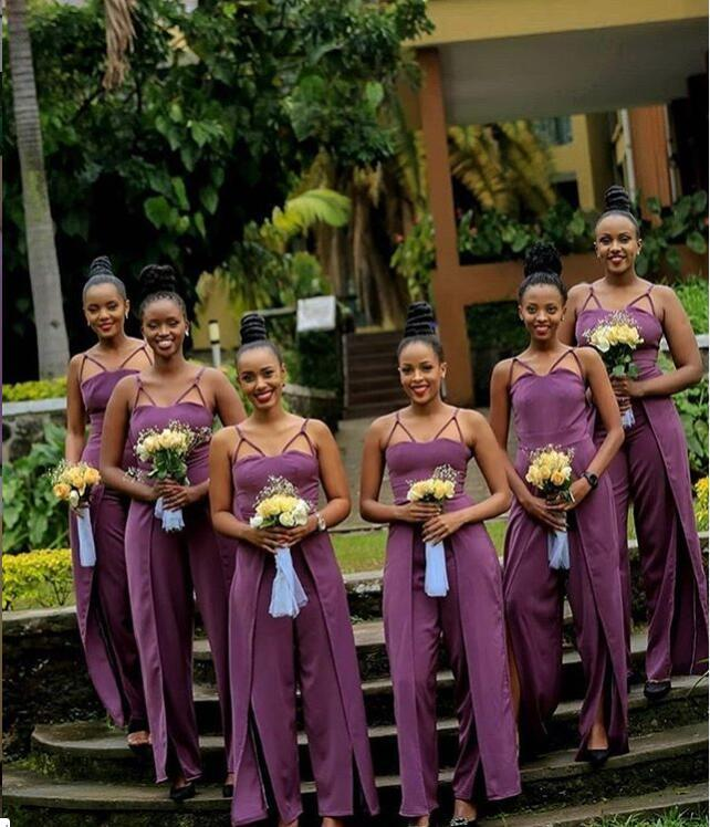 2020 alta calidad baratos elegante satén largo vestido de dama mono de la longitud del piso huésped de la boda Criada de los vestidos
