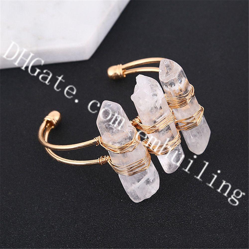 10pcs Handmade Women Triple Clear Quartz Crystal Point Gemstone Cuff Bangle Natural White Druzy Rock Stone Statement Bracelet Femme Jewelry