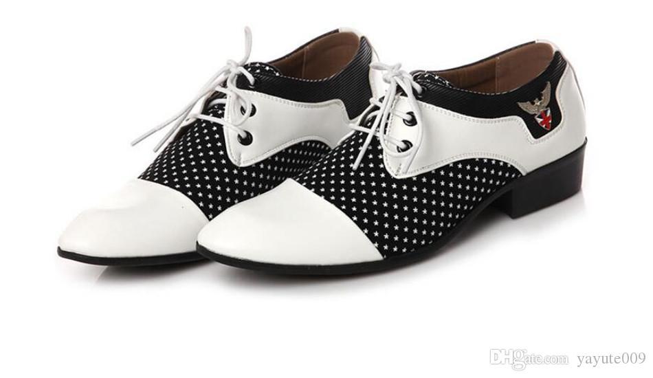 Novos homens bussiness sapatos formais marca único slip on black white man escritório party wedding dress shoes tamanho grande