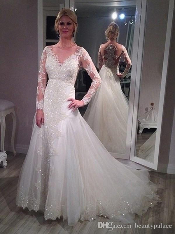 Top qualité une ligne bijou balayage train blanc tulle appliques robes de mariée en dentelle manches longues perlée paillettes robes de mariée