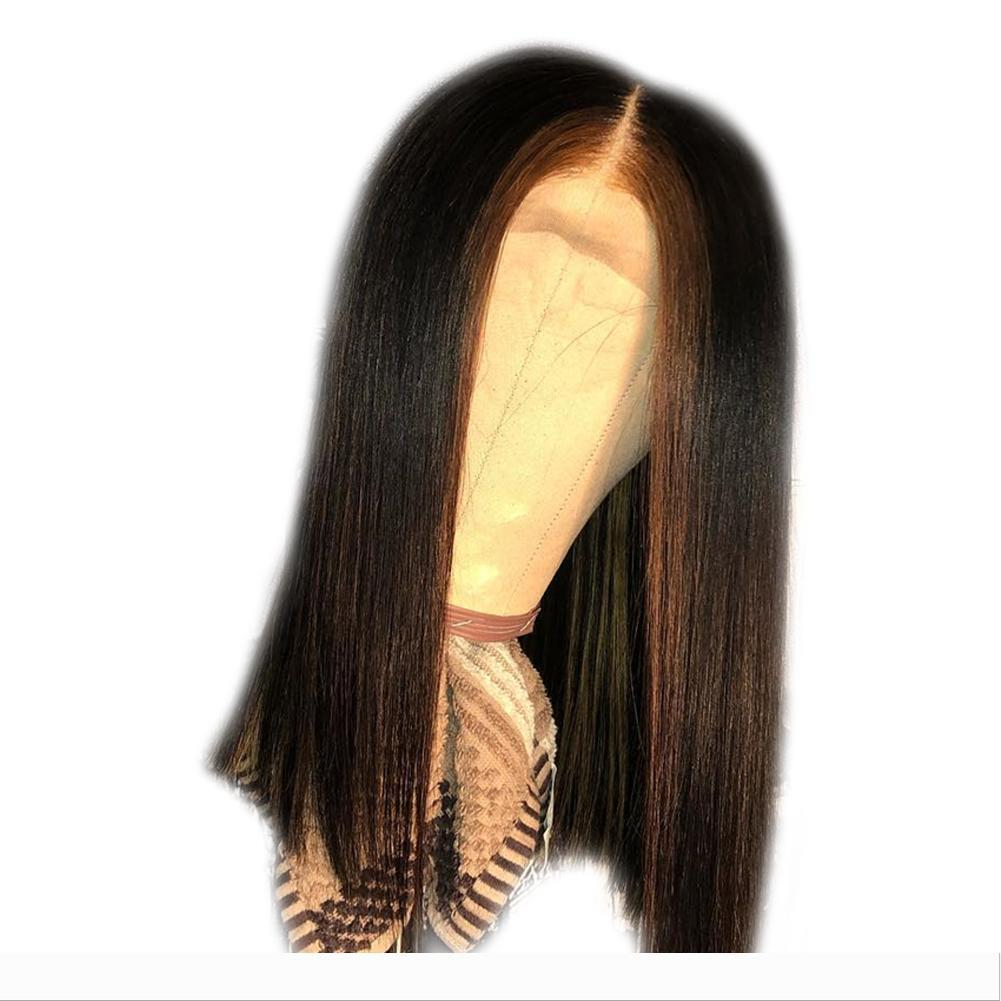 destaques bob reta 13x6 rendas frente perucas com o cabelo do bebê 150% Densidade Remy Perucas Curto completa Lace BOB Perucas Mulheres Preto Para