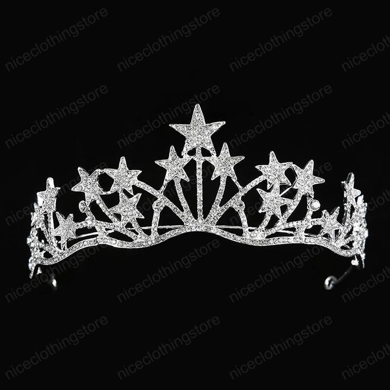 Luxe main blanc strass Tiara Trendy Forme étoilée Couronnes Princesse Robes de bal anniversaire de mariage Tiara Accessoires cheveux
