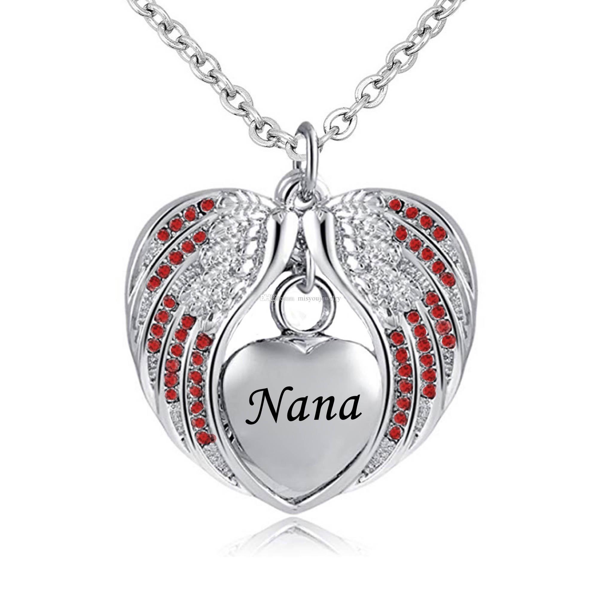 Piedra de nacimiento del encanto pendiente del acero inoxidable Memorial Urna collar impermeable del ala del ángel del recuerdo de la joyería de la cremación para nana