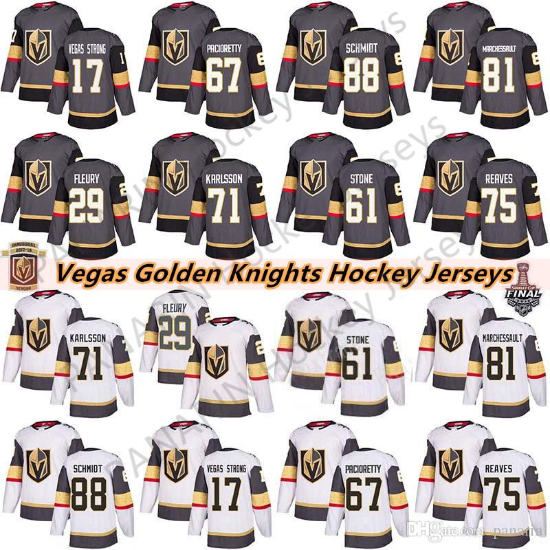 Vegas Golden Knights 29 Marc-Andre Fleury 75 Ryan Reaves 71 William Karlsson 61 Mark Ston 67 Max Pacioretty Мужские Детские Женские Хоккейные Майки