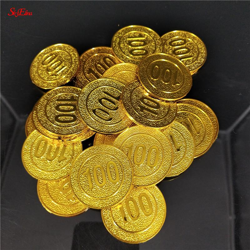 50/100pcs/pack new Gold Coins poker casino chips model gold plating Plastic Pirate Toy coins Game currency 6z