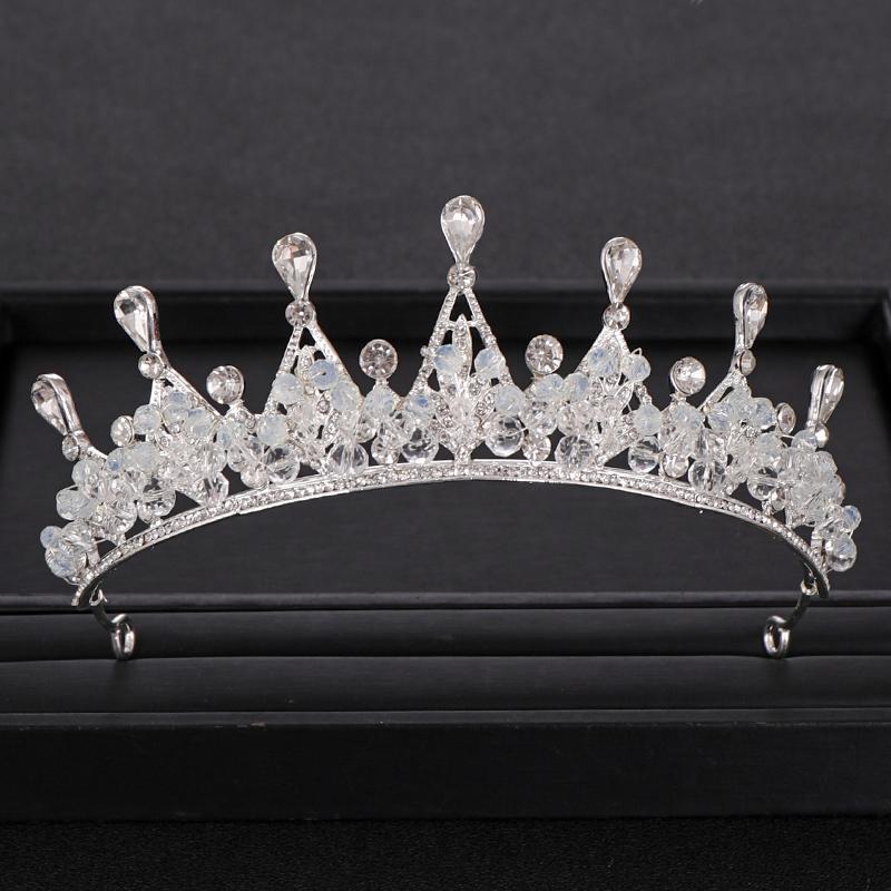 Vintage cristal d'argent de la Reine de mariage Couronne tiare bijoux de mariée cheveux à la main Parti perlage Couronnes pour Mariage Accessoires de cheveux