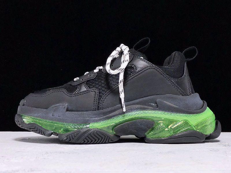 2020 باريس أحذية عارضة الثلاثي-S واضح وحيد المدربين أبي حذاء حذاء رياضة أسود أخضر كريستال أسفل رجل إمرأة أعلى جودة Chaussures