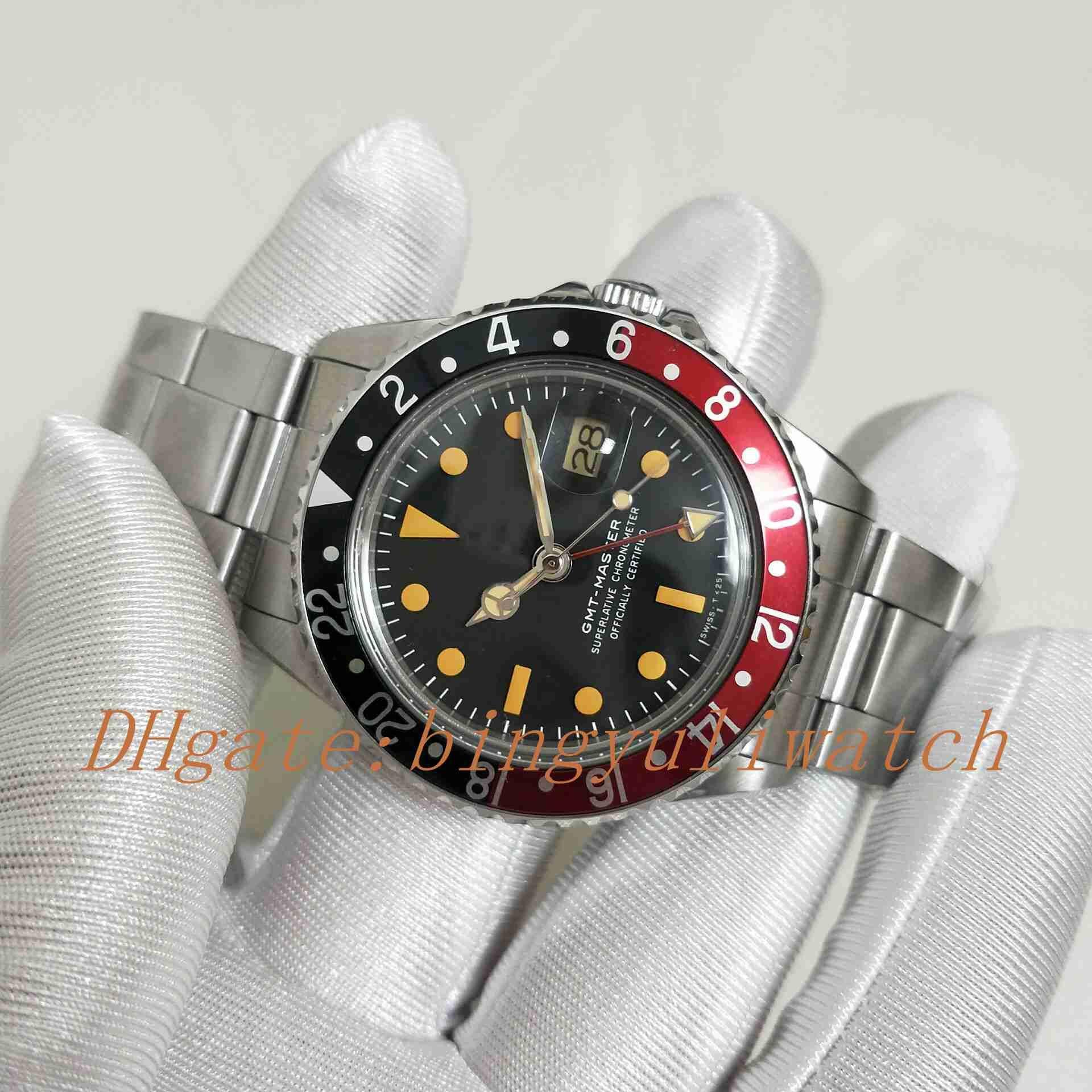 BPF fábrica antigua de Mejor Edición R-GMT Ref. 1675 Vintage 2813 Movimiento automático clásica correa de reloj de los hombres clásicos de cierre Bisel de aluminio