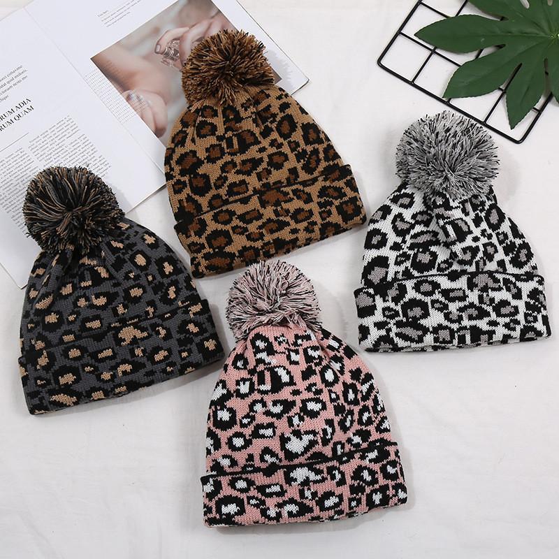 Fashions livre DHL INS Leopard Mulheres Gorros de malha Confetti Bola Top Caps Adultos Qualidade Leopard Chapéus Atacado