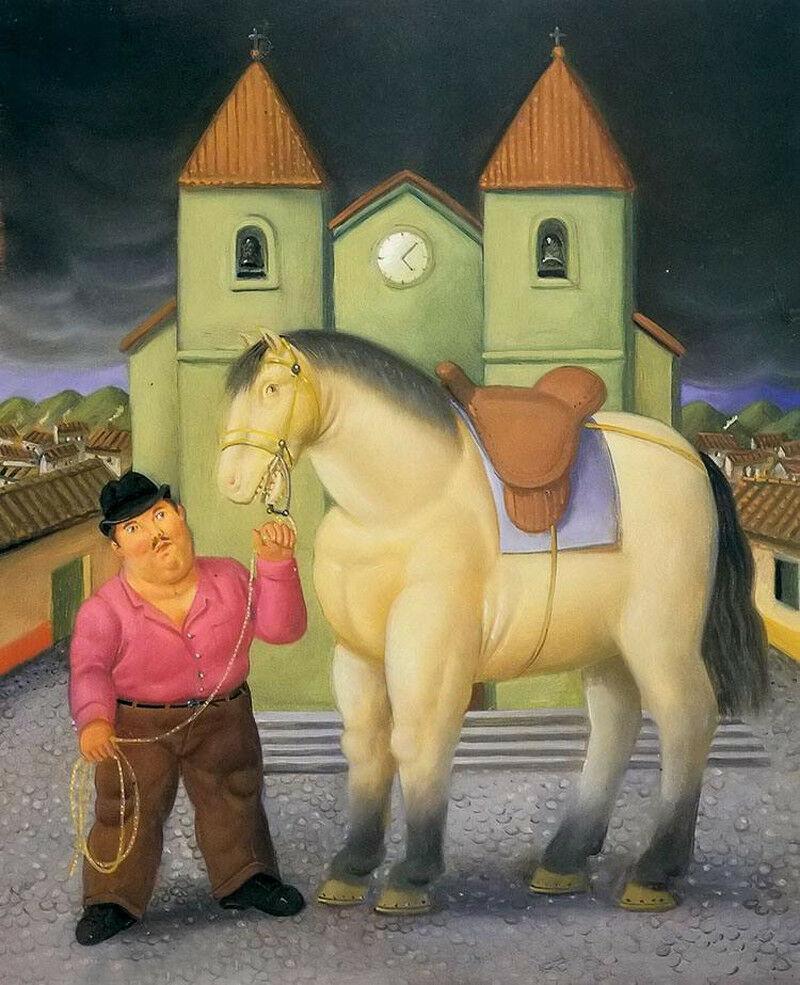 cavallo grasso Fernando Botero su tela per la casa Artigianato / HD Stampa della pittura a olio su tela di canapa di arte della parete della tela di canapa Immagini 200205