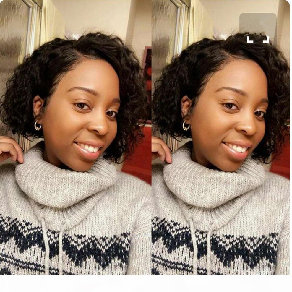 Curly Bob Lace Front Wig Brazilian Virgin Human with Baby Hair Short Curly for Black Women Side Part Pre Plucked Slightly Bleached Knots