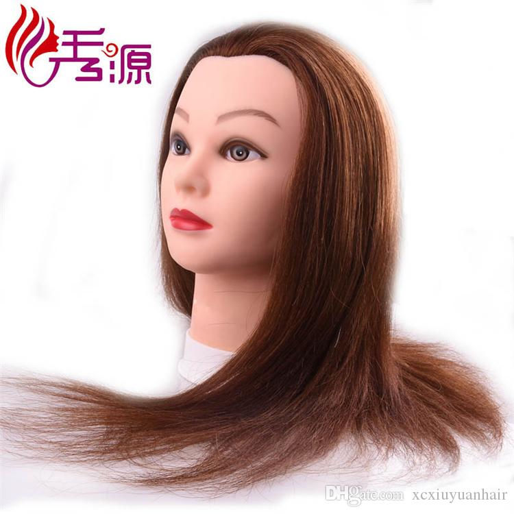 Back Forward Direction Training Head With 100% Human Hair Brown Color Training Mannequin Head Styling Training Head For Hairdressers Dolls