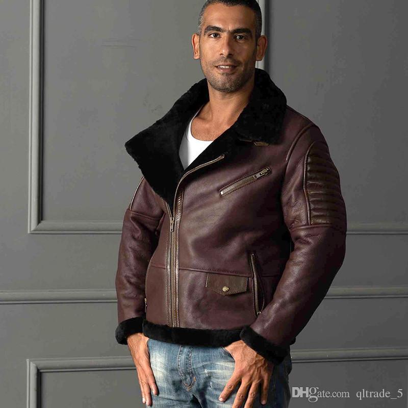 대각선 지퍼 5XL 4XL 가장 큰 크기 AVIREXFLY 정품 가죽 재킷 옷깃 목 양고기 모피 안감 공군 비행 가죽 자켓 양피