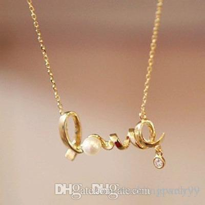 Crystal Heart Love Gold Pendant Necklaces Women Fashion Jewelry gift Statement Neckalces for wedding engagement party