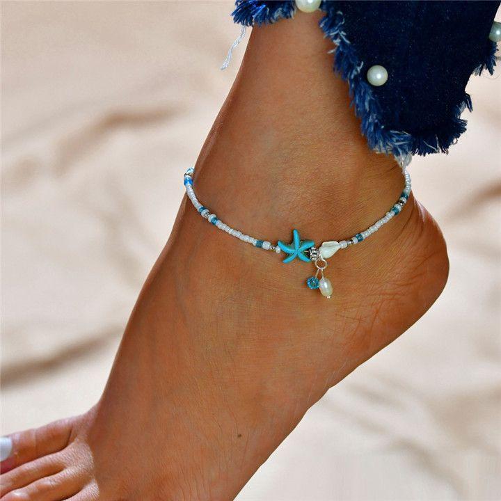 Boho Freshwater Pearl Charm Tobilleras Mujeres Sandalias Descalzas Beads Tobillera Pulsera Verano Playa Starfish Foot Jewelry T259