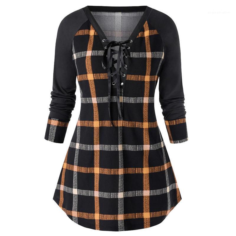 Robes Mode Plus Size Vêtements pour femmes Plaid Print Designer Femmes Robes lambrissé couleur V Neck Casual
