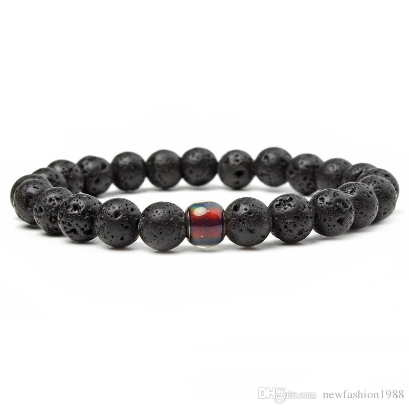 Changing Color Mood Feeling Emotion Temperature Bead 8mm Black Lava Stone DIY Essential Oil Diffuser Bracelet Smart Jewelry