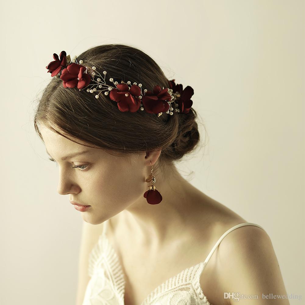 2019 neue Hochzeit Kopfbedeckungen Haarschmuck Mit Perlen Blumen Frauen Haarschmuck Hochzeit Diademe Kronen HP859