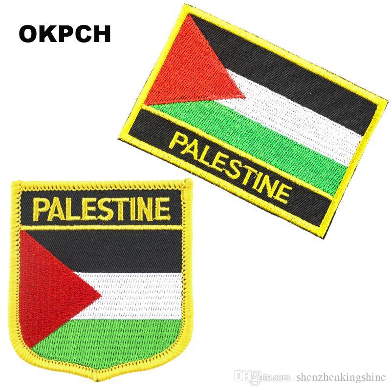 Ferro da ricamo bandiera Palestina spedizione gratuita su patch 2 pezzi per set PT0027-2