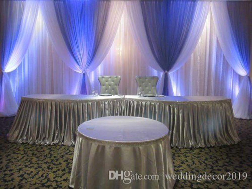 100٪ العلامة التجارية الجديدة 10FT 20FT العاشر الأبيض خلفية زفاف مع الأزرق الملكي سوجس الزفاف الستائر المرحلة الديكور 89