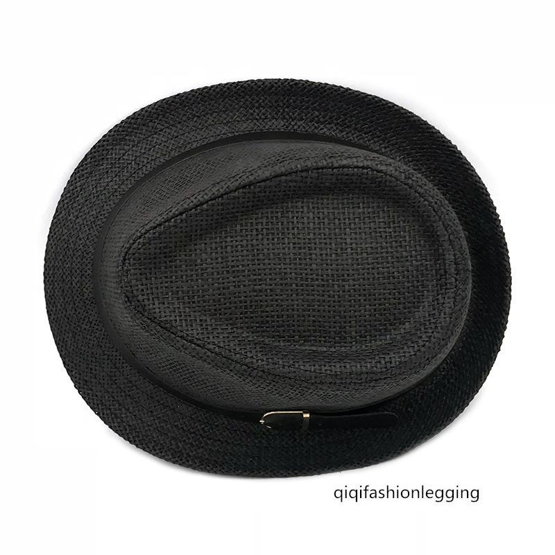 Men's travel straw hat sunscreen denim belt jazz beach straw hat