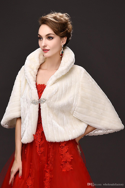 Winter Marfim New Bridal Envoltório Faux Fur Casaco para Casamento Prom Marfim Inverno Quente Dama de Promoção Rhinestone Bolero CPA971