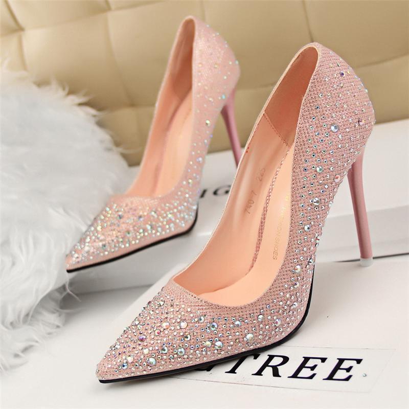fashion Bigtree ladies Dress wedding rhinestones crystal women extreme high heels sexy pumps Womens High-heeled Slender High-heeled Sho7b12#