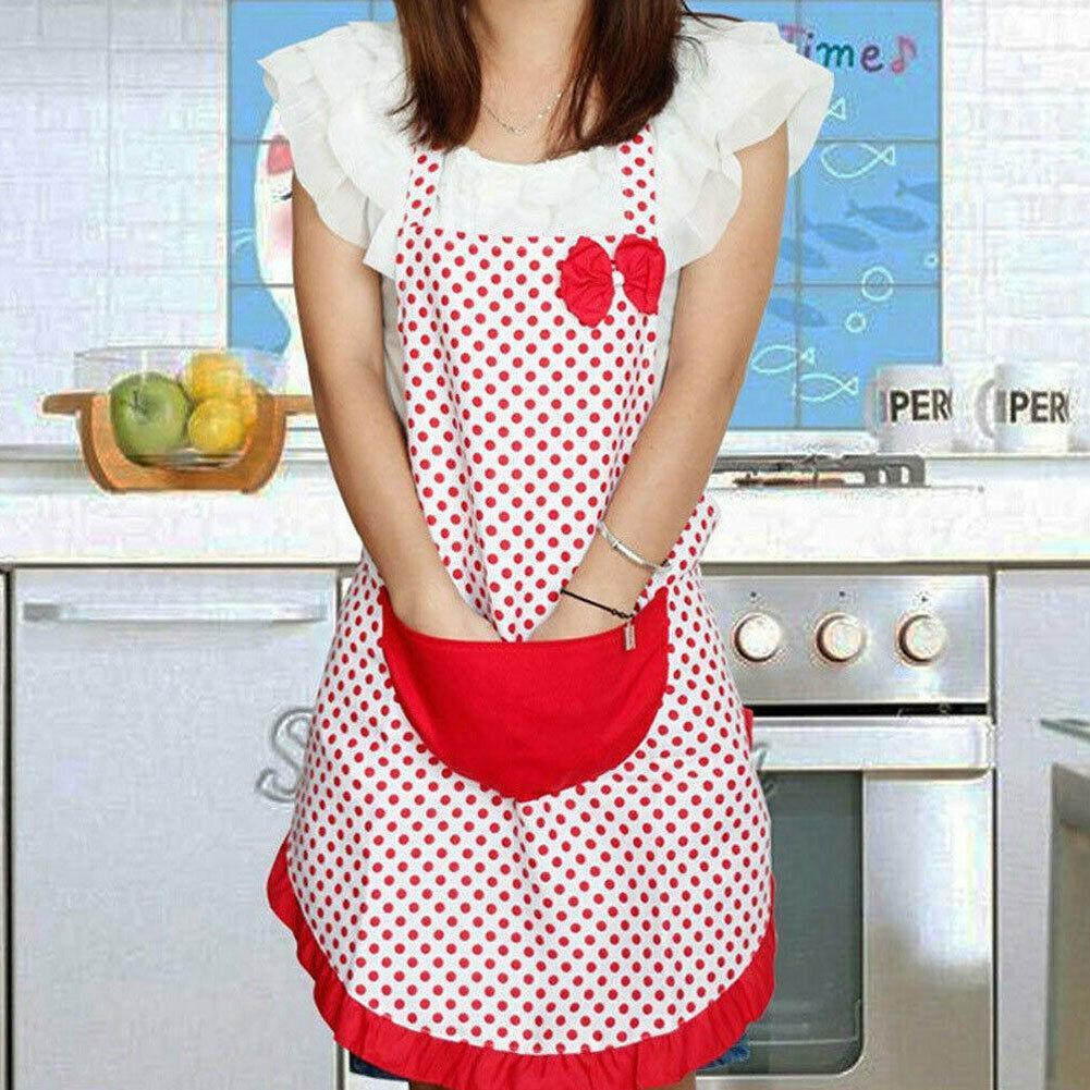 턱받이 포켓 선물 주방 앞치마를 요리 여성 폴카 도트 활 방수 앞치마 키친 레스토랑