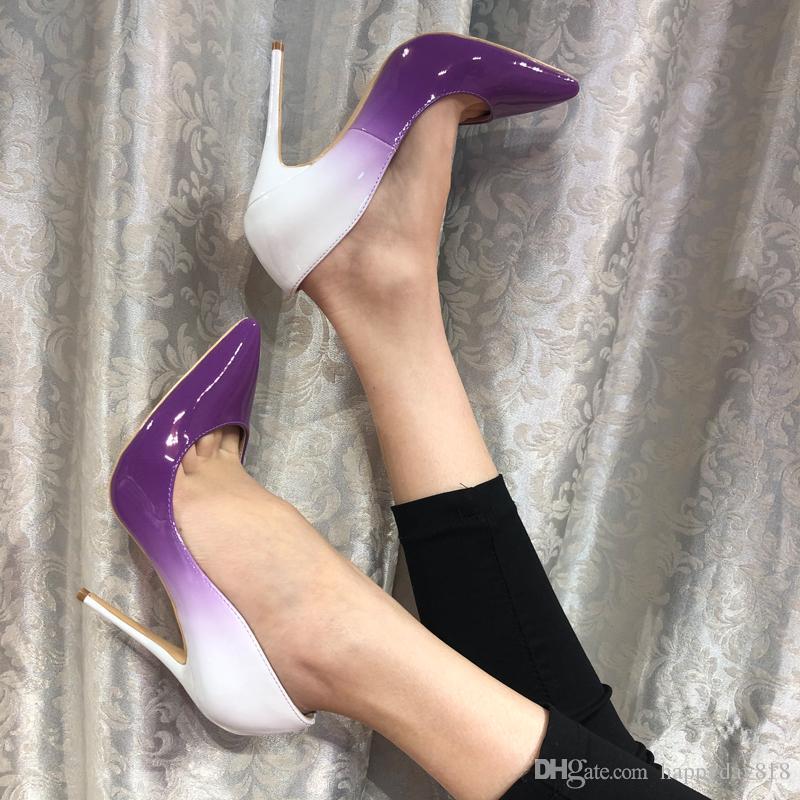 Ücretsiz kargo moda kadınlar Casual Tasarımcı Mor rugan pompalar Degrade nokta ayak yüksek topuklu ince topuk ayakkabı parti ayakkabı marka yeni