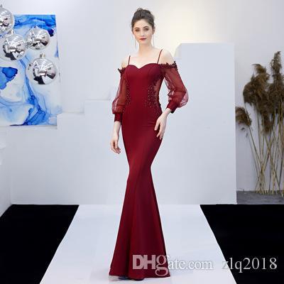 Off The Shoulder Evening Dresses 2019 Elegant Long Sleeves Beaded Appliques See through Back Mermaid Bridesmaid Dress