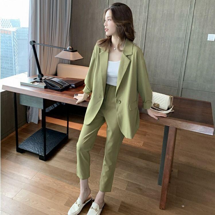2020 Nova Moda Outono elegante Matching Mulher Set Casual calças soltas único botão cintura Office Lady alta Ternos 3 Peice Set L96