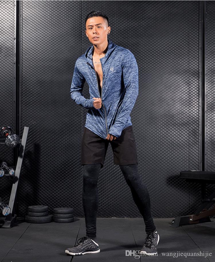 가을 겨울 체육관 스포츠 후드가 달린 런닝 자켓 남자 스 플라이 싱 빠른 드라이 남성 코트 피트니스 탄력있는 지퍼 훈련 자켓 체육관 조깅 S