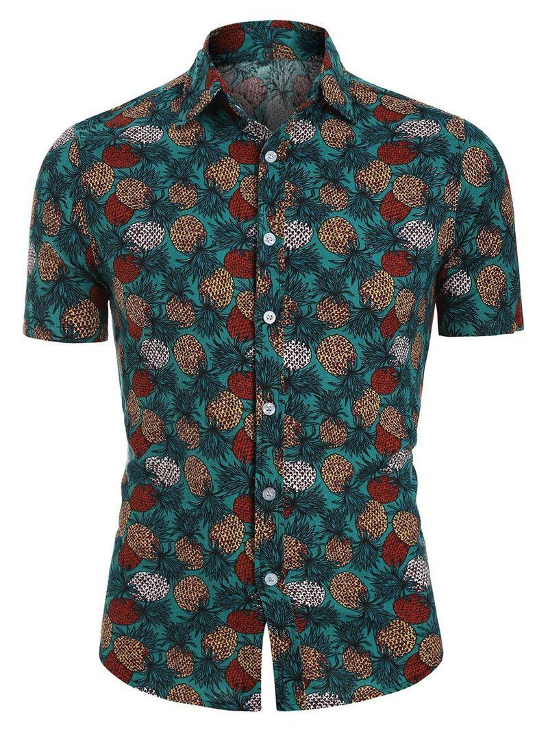 Casual Ananas Imprimé Hommes Polos Eté Homme Designers Tops Homme Summer Designer Fashion Collier Polos Hommes T-shirts Turndown