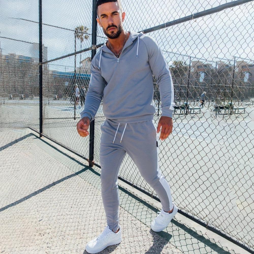 Manica lunga Casual Slim Uomo Tute New Style Abbigliamento Uomo Primavera Designer uomo con cappuccio Tute Paneled