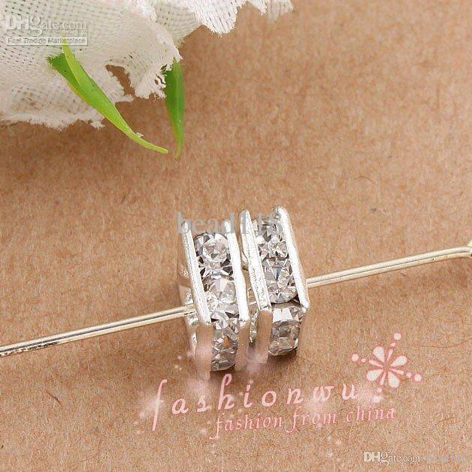 120 unids / lotes Plateado plateado Rhinestone Clear Square Spaceders Beads 6mm para joyería haciendo collar de pulsera DIY Hallazgos