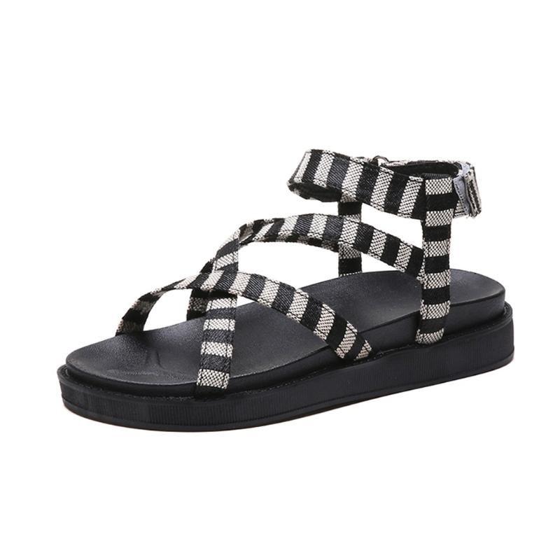 SAGACE Yeni Moda Kadın Sandalet Casual Yumuşak Elastik Band Rahatlık Çizgili Roma Nefes Platformu Yaz Ayakkabı 2020 X1220