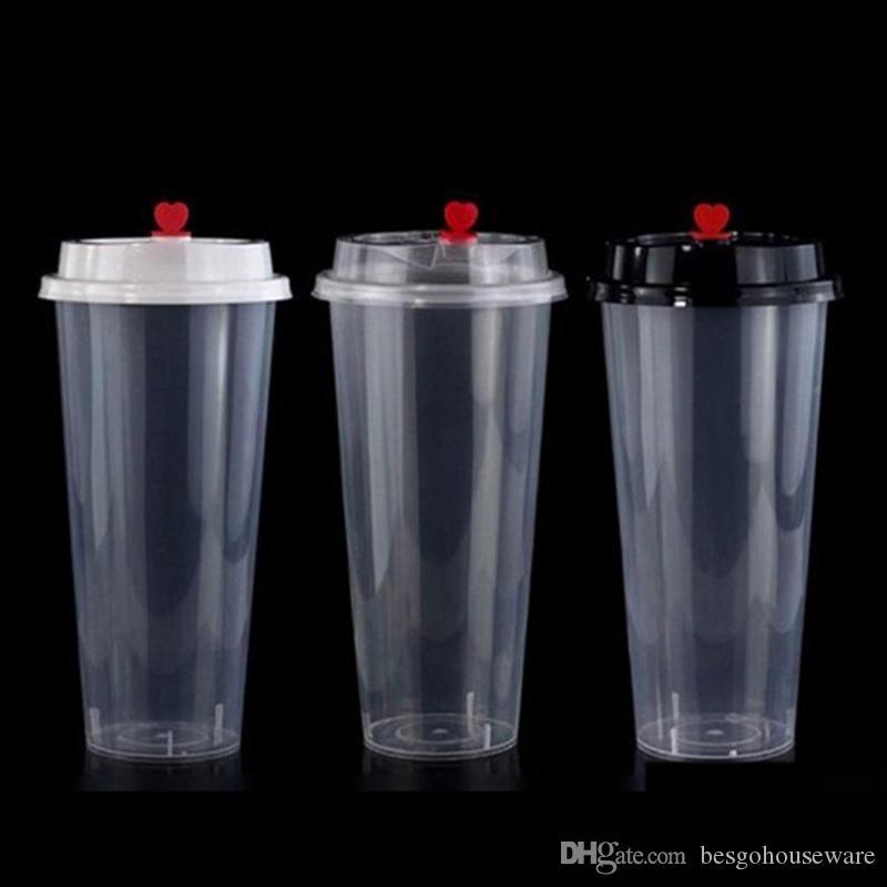 700ML 24oz المتاح أكواب بلاستيكية الباردة المشروبات الساخنة عصير كأس ثخن شفافة المشروبات القدح مع غطاء U شكل فقاعة الشاي كأس حليب DBC BH3822