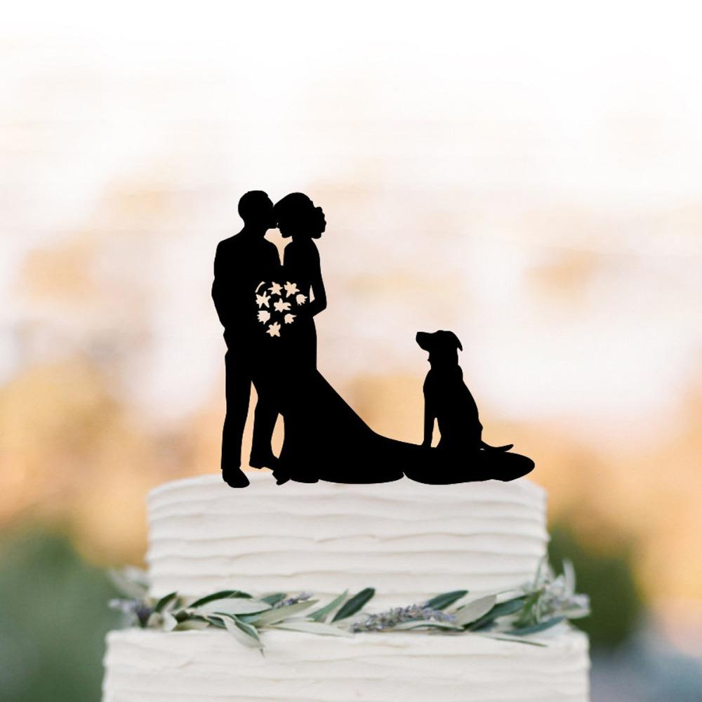 Mr and Mrs Wedding Cake Topper, Groom kissing brides forehead with dog silhouette Cake topper , funny wedding topper decor