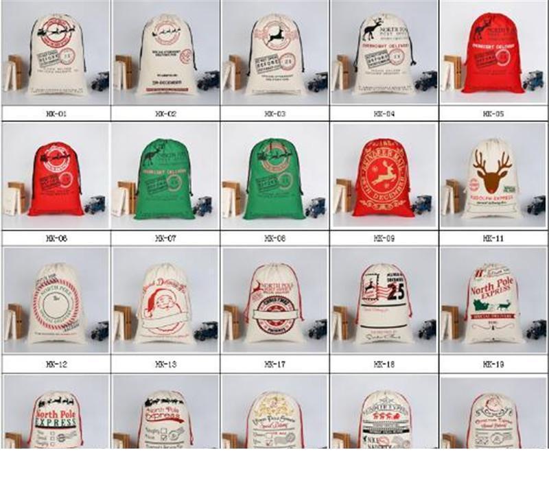 2020 Sacs cadeaux de Noël Grand sac fourre-tout organique lourd Père Noël Sac de jute Sac à cordonnet avec Reindeers Père Noël Sac de jute Sacs pour les enfants TO226